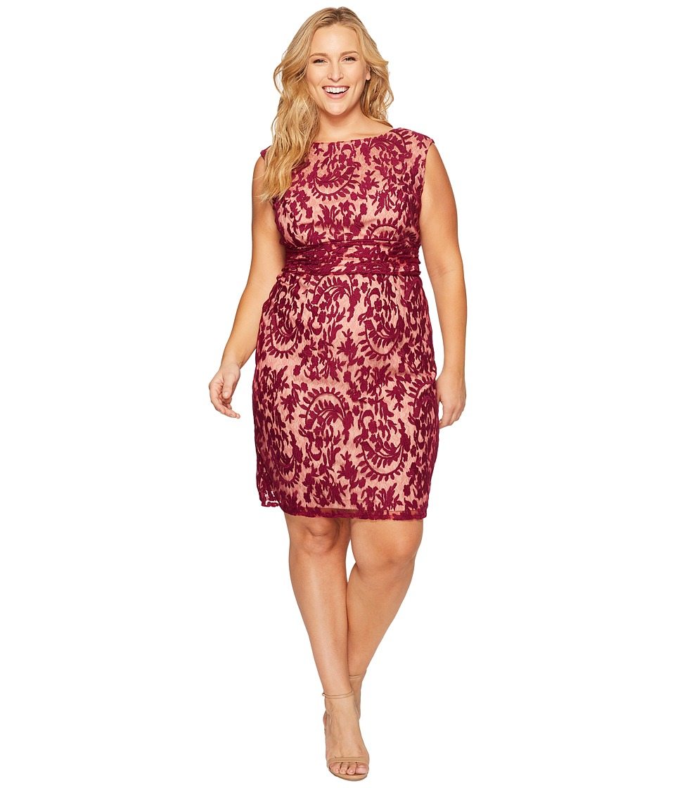 Adrianna Papell - Plus Size Lace Sheath with Nude Lining (Crushed Berry) Women's Dress