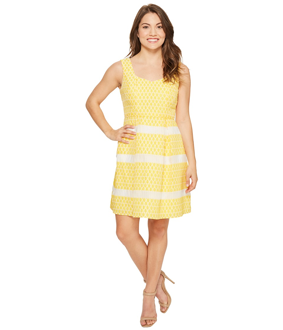 Adrianna Papell - Petite Lemon Drop Jacquard Fit and Flare Dress (Yellow/Ivory) Women's Dress