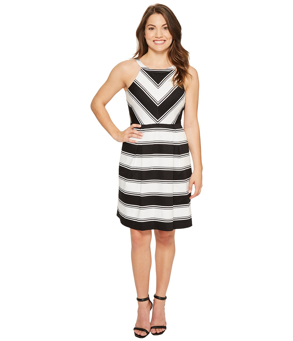 Adrianna Papell - Petite Printed Stretch Cotton Halter Neck Fit and Flare (Black/White) Women's Dress