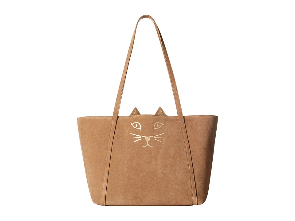 Charlotte Olympia - Mini Feline Kitty Shopper (Tan) Handbags