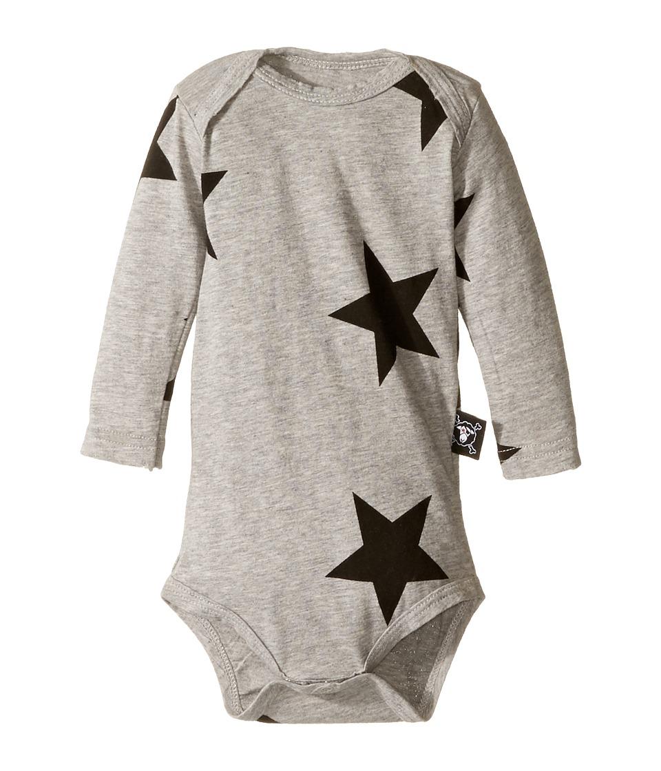 Nununu - Star Long Sleeve Bodysuit (Infant) (Heather Grey) Kid's Jumpsuit & Rompers One Piece