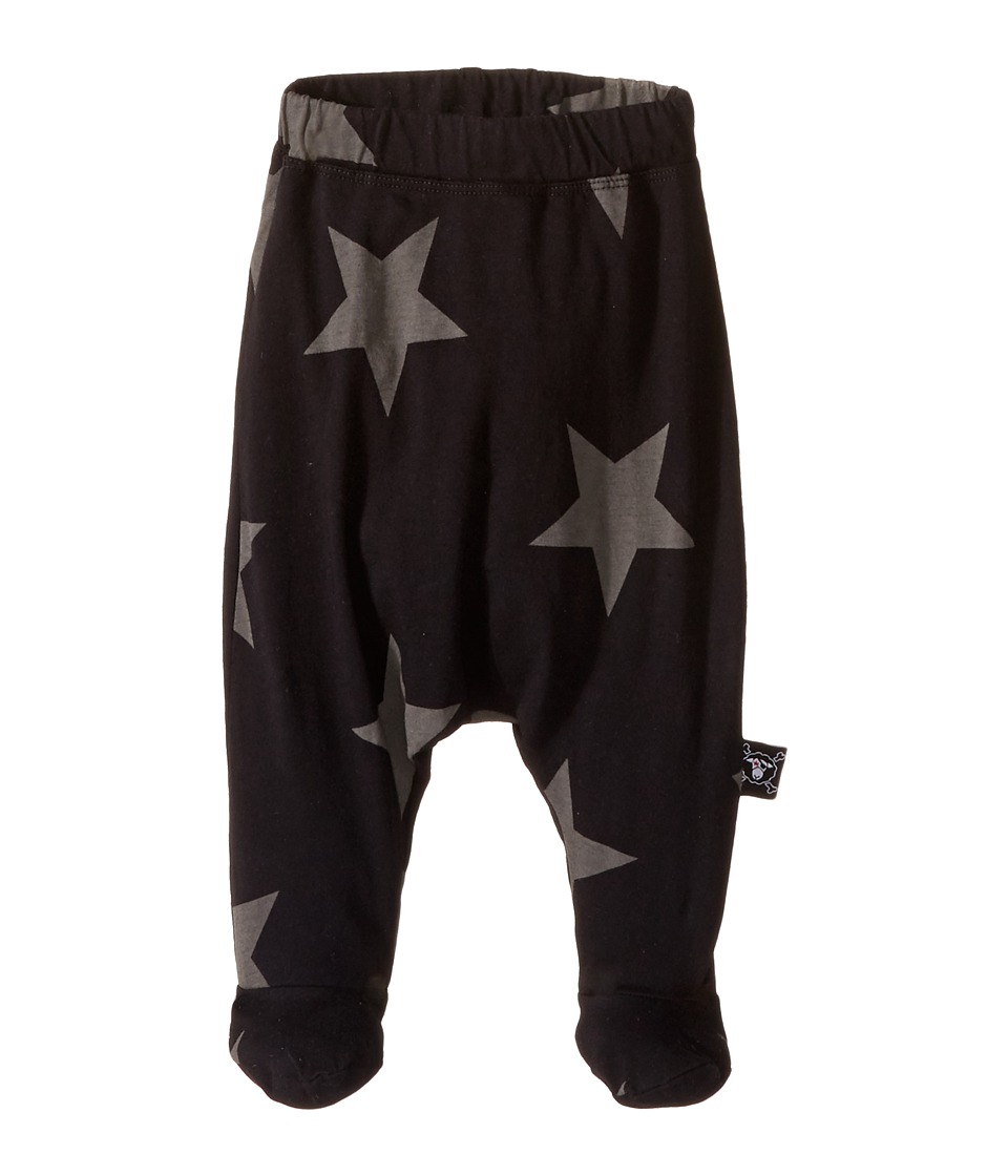 Nununu - Star Baggy Footie (Infant) (Black) Kid's Casual Pants