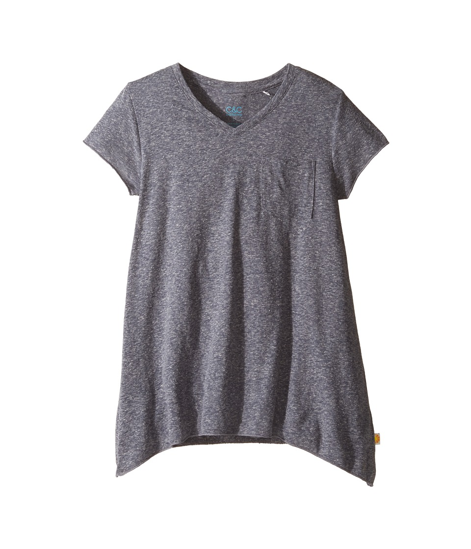 C&C California Kids - V-Neck Tee (Little Kids/Big Kids) (Medium Grey Heather) Girl's T Shirt