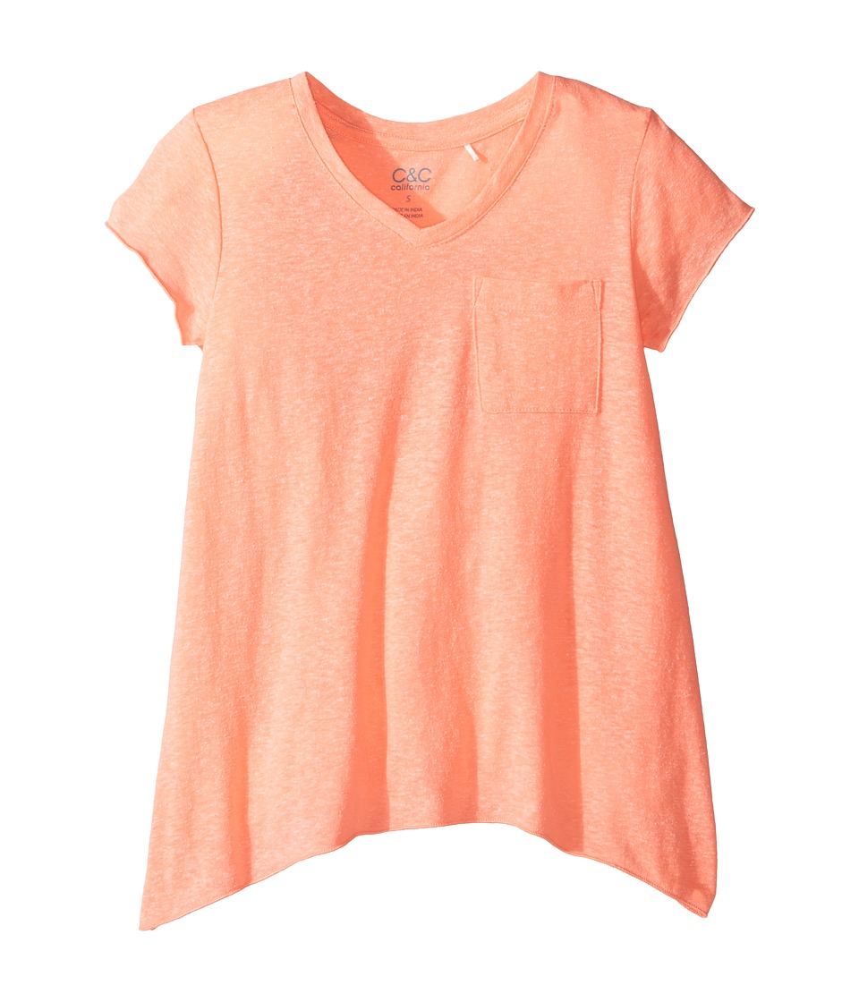 C&C California Kids - V-Neck Tee (Little Kids/Big Kids) (Pop Coral Heather) Girl's T Shirt