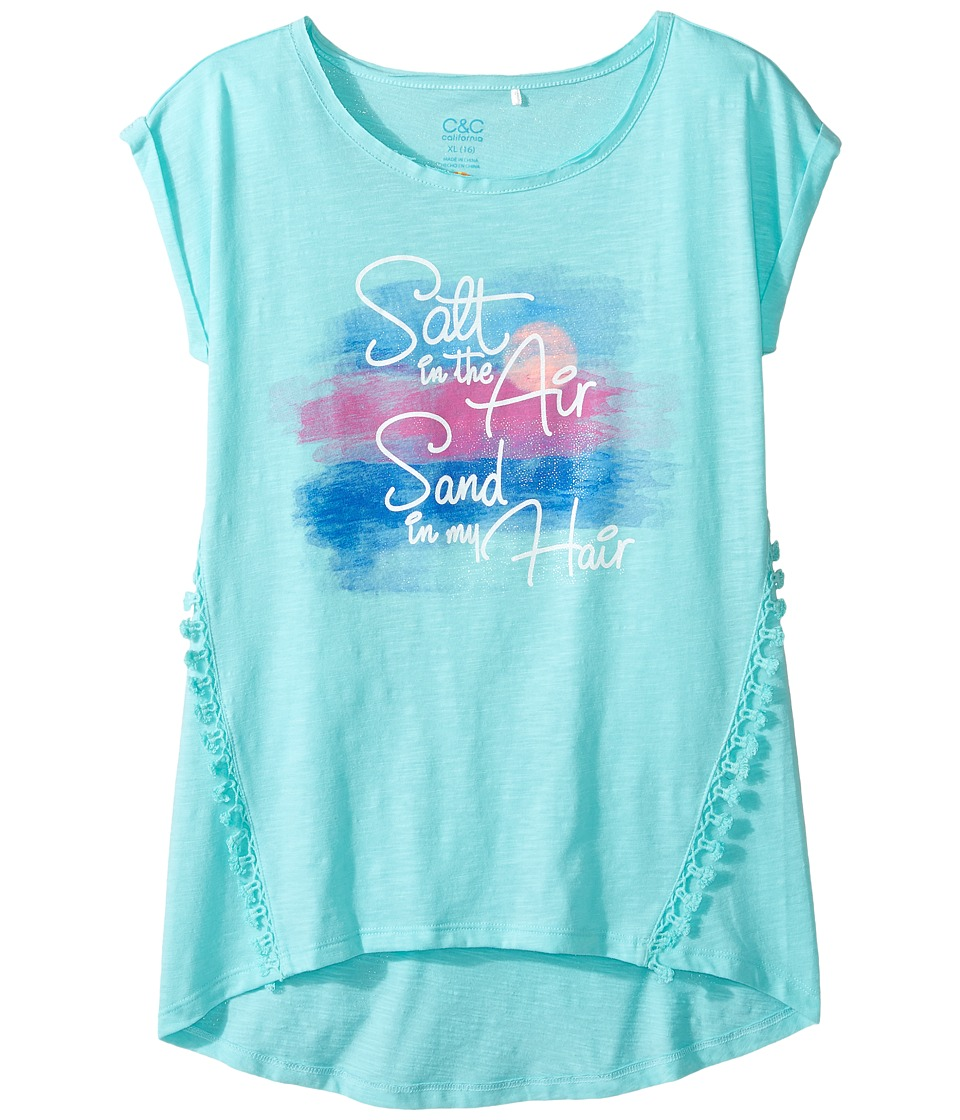 C&C California Kids - Graphic Top (Little Kids/Big Kids) (Aqua Run) Girl's Clothing