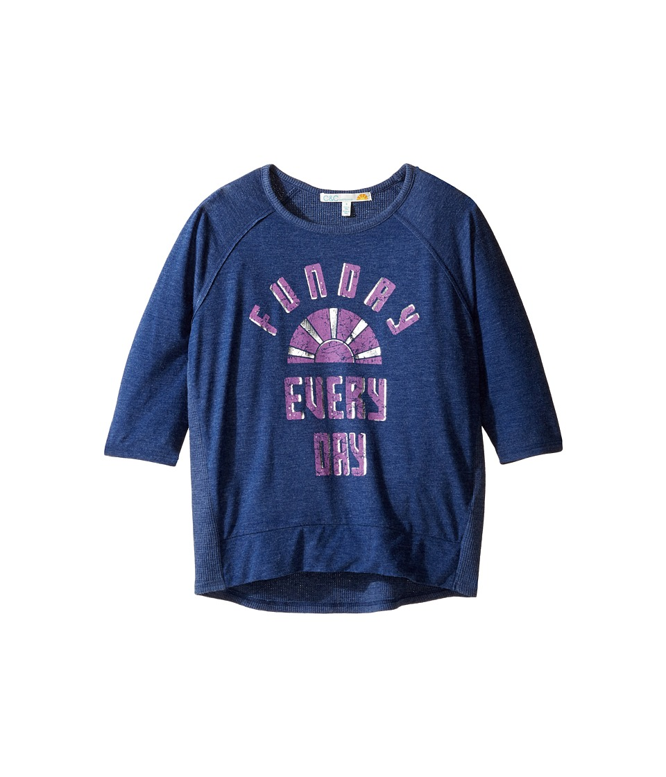 C&C California Kids - Graphic Long Sleeve Top (Little Kids/Big Kids) (Navy) Girl's Clothing
