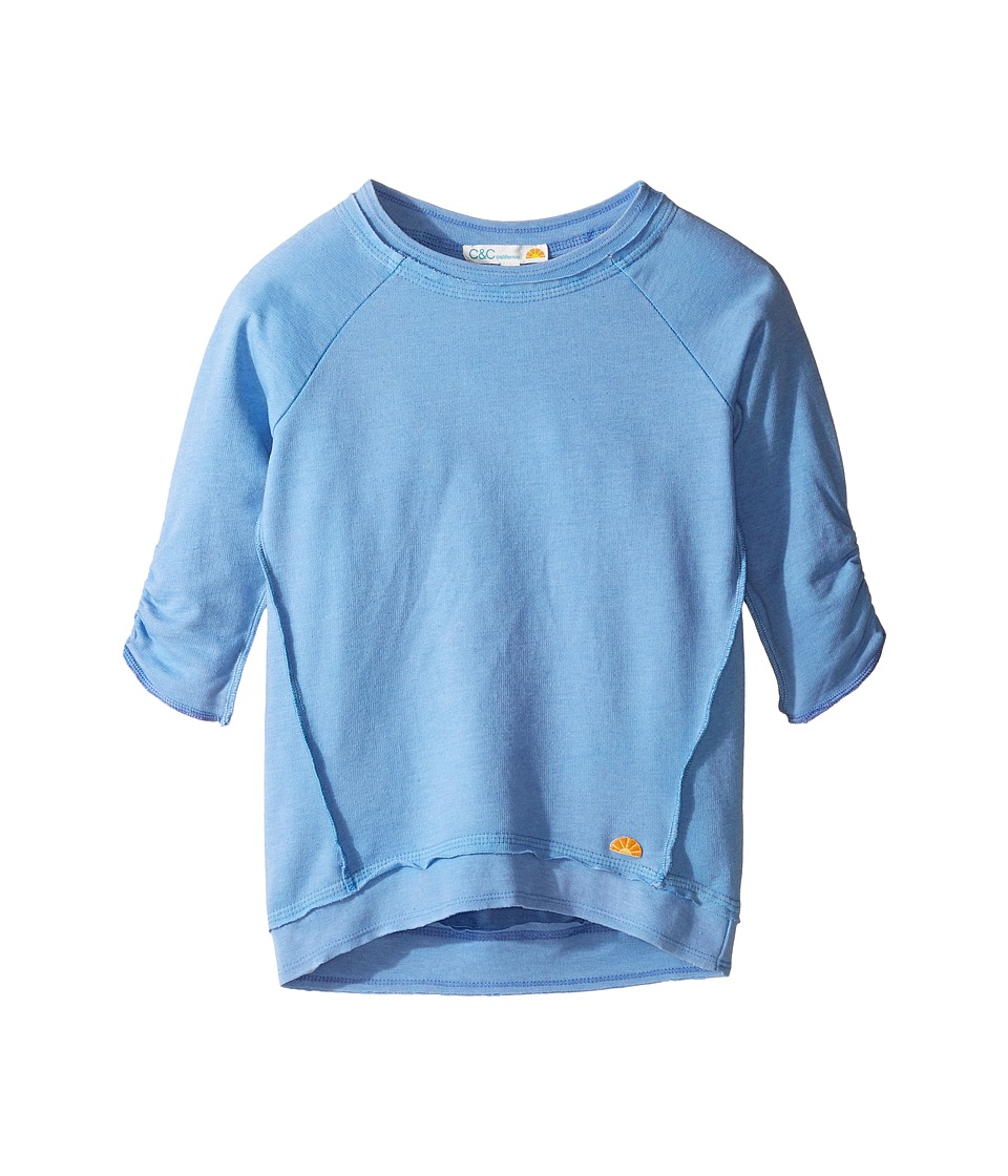 C&C California Kids - French Terry Top (Little Kids/Big Kids) (Sea Blue) Girl's Clothing