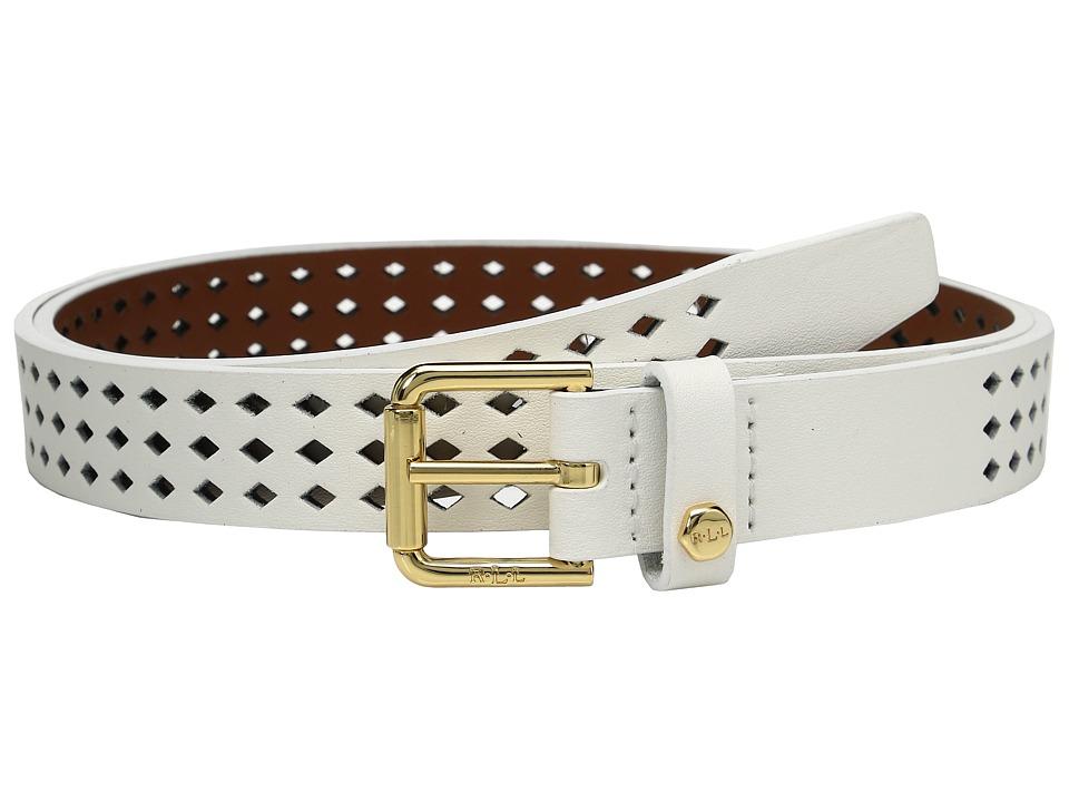 LAUREN Ralph Lauren - Lauderdale Diamond Perf Belt (Eggshell) Women's Belts