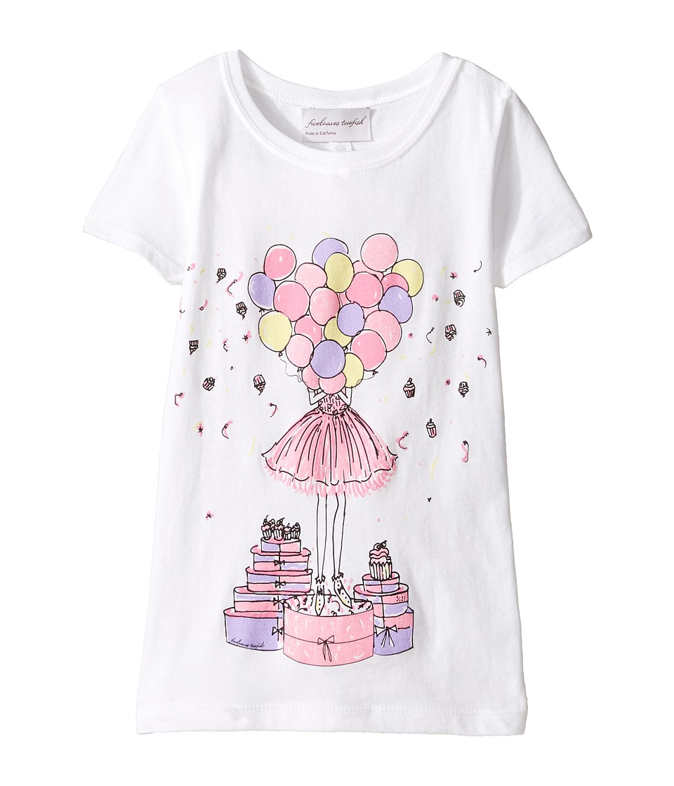 fiveloaves twofish - Birthday Balloon Screen Tee (Little Kids/Big Kids) (White) Girl's T Shirt