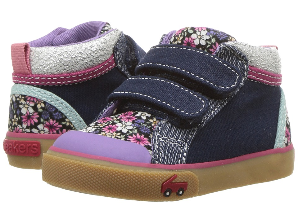 See Kai Run Kids Kya (Toddler/Little Kid) (Dark Blue/Multi Floral) Girl