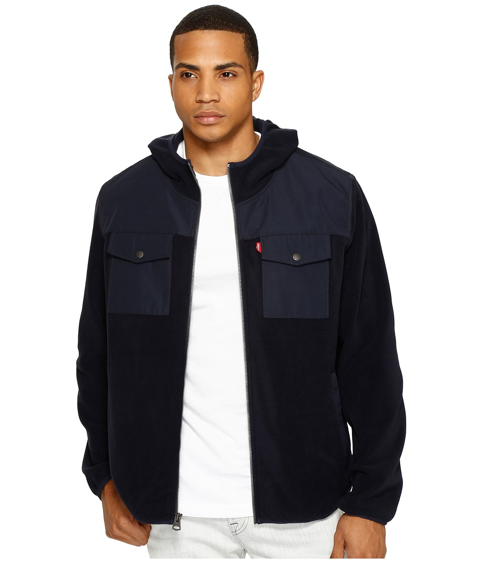 Levi's(r) - Mixed Media Two-Pocket Hooded Open Bottom Jacket (Navy/Light Grey) Men's Coat