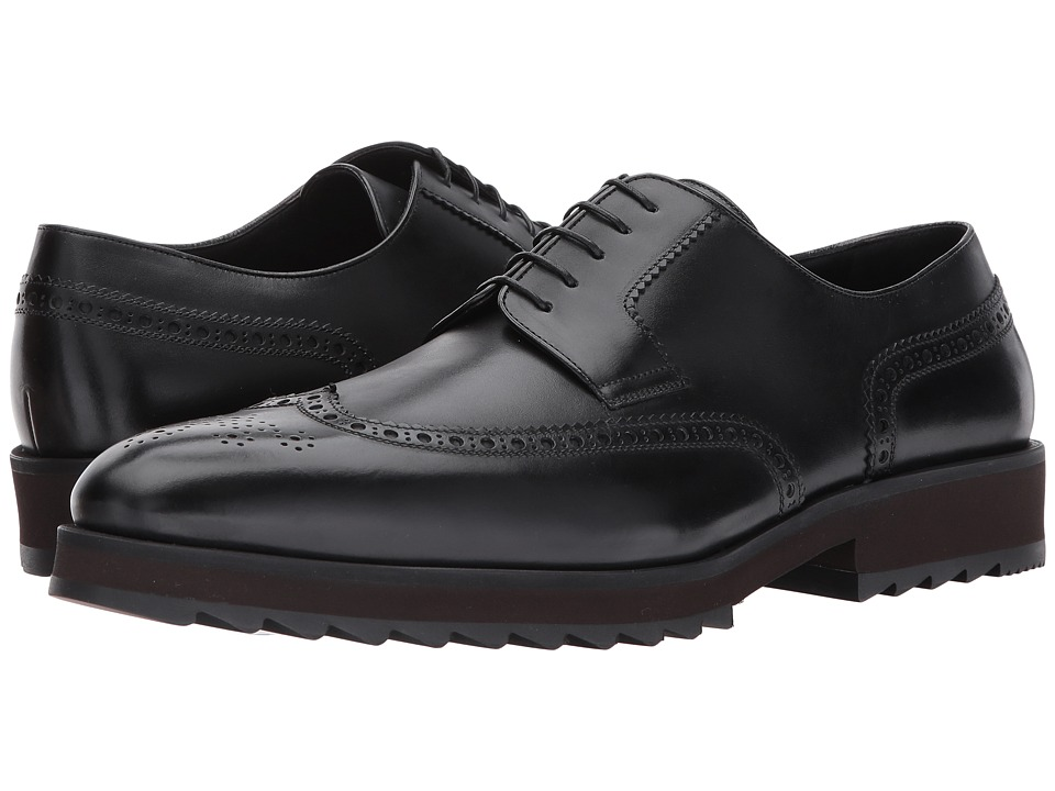 a. testoni - Rubber Sole Wingtip (Black) Men's Shoes
