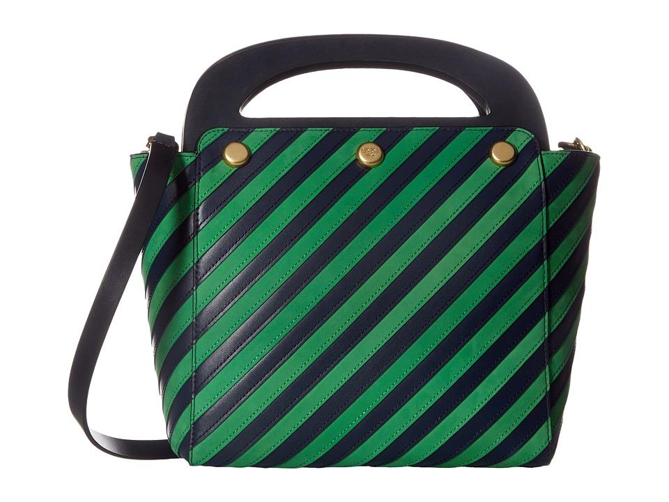 Tory Burch - Striped Bermuda Bag (Tory Navy/Court Green) Bags