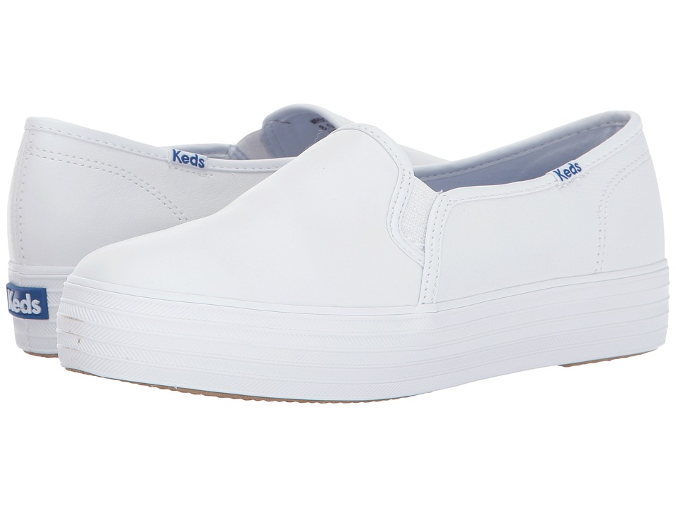 Keds - Triple Decker Leather (White) Women's Lace up casual Shoes