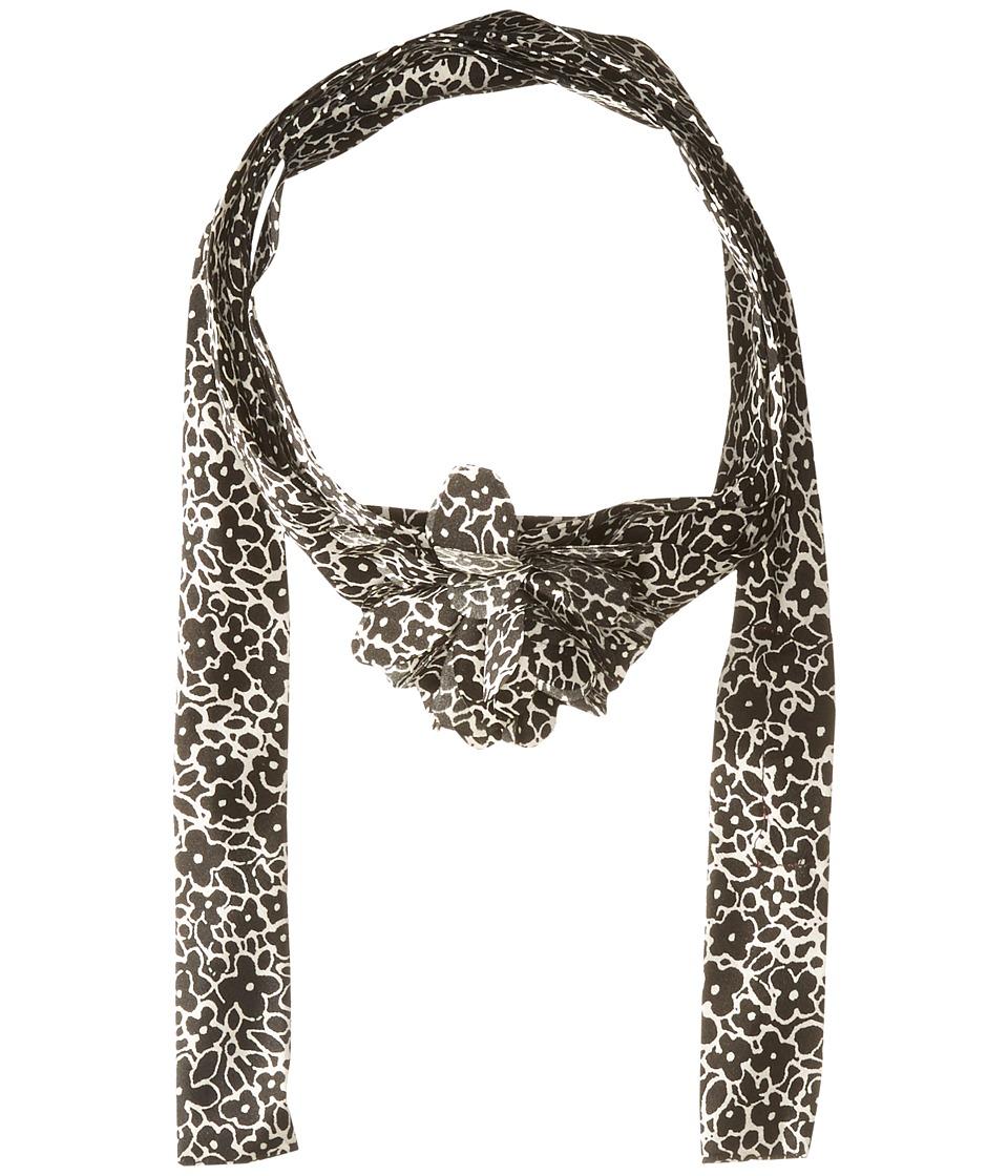Betsey Johnson - Cartoon Floral Skinny Scarf (Black/White) Scarves