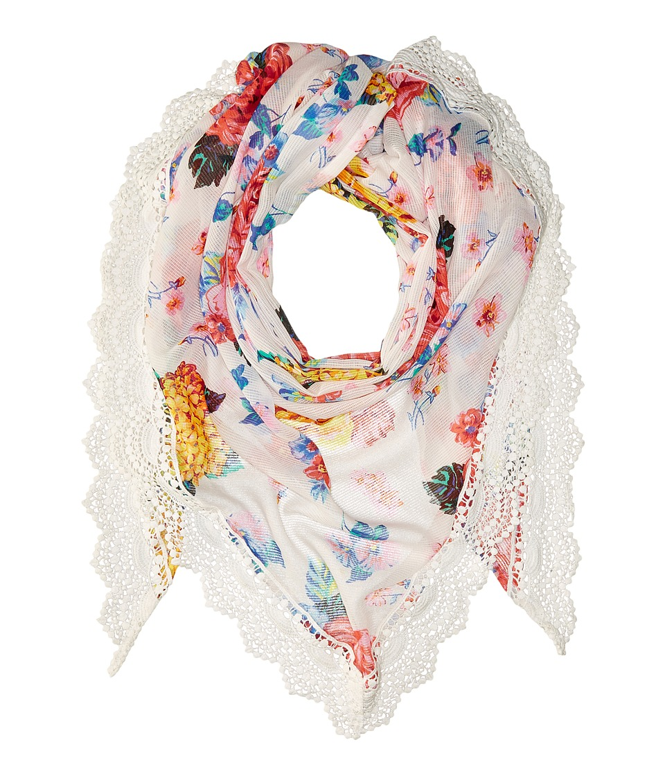 Betsey Johnson - Gypsy Floral Triangle (White) Scarves