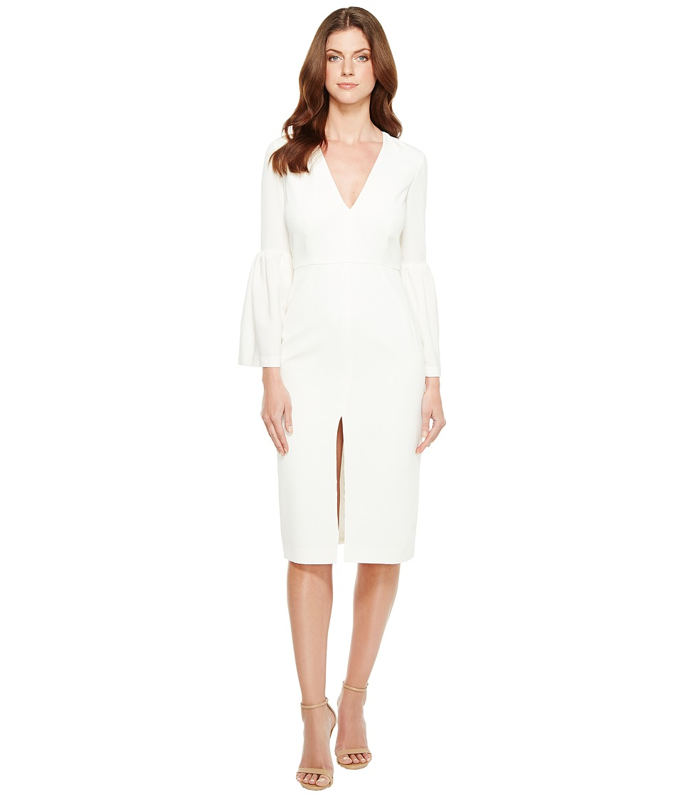JILL JILL STUART - Deep V-Neck Bell Sleeve Midi (Off-White) Women's Dress