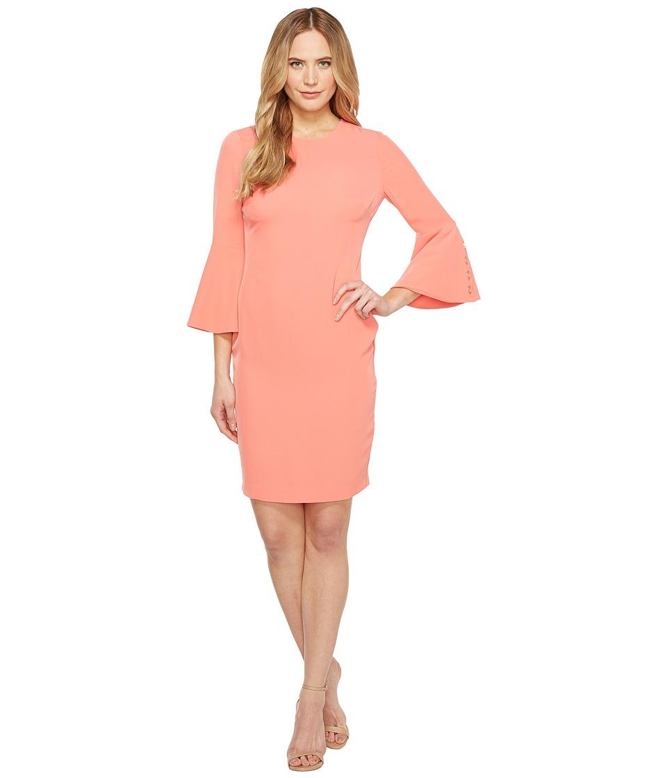 Calvin Klein Bell Sleeve Dress (Porcelain Rose) Women