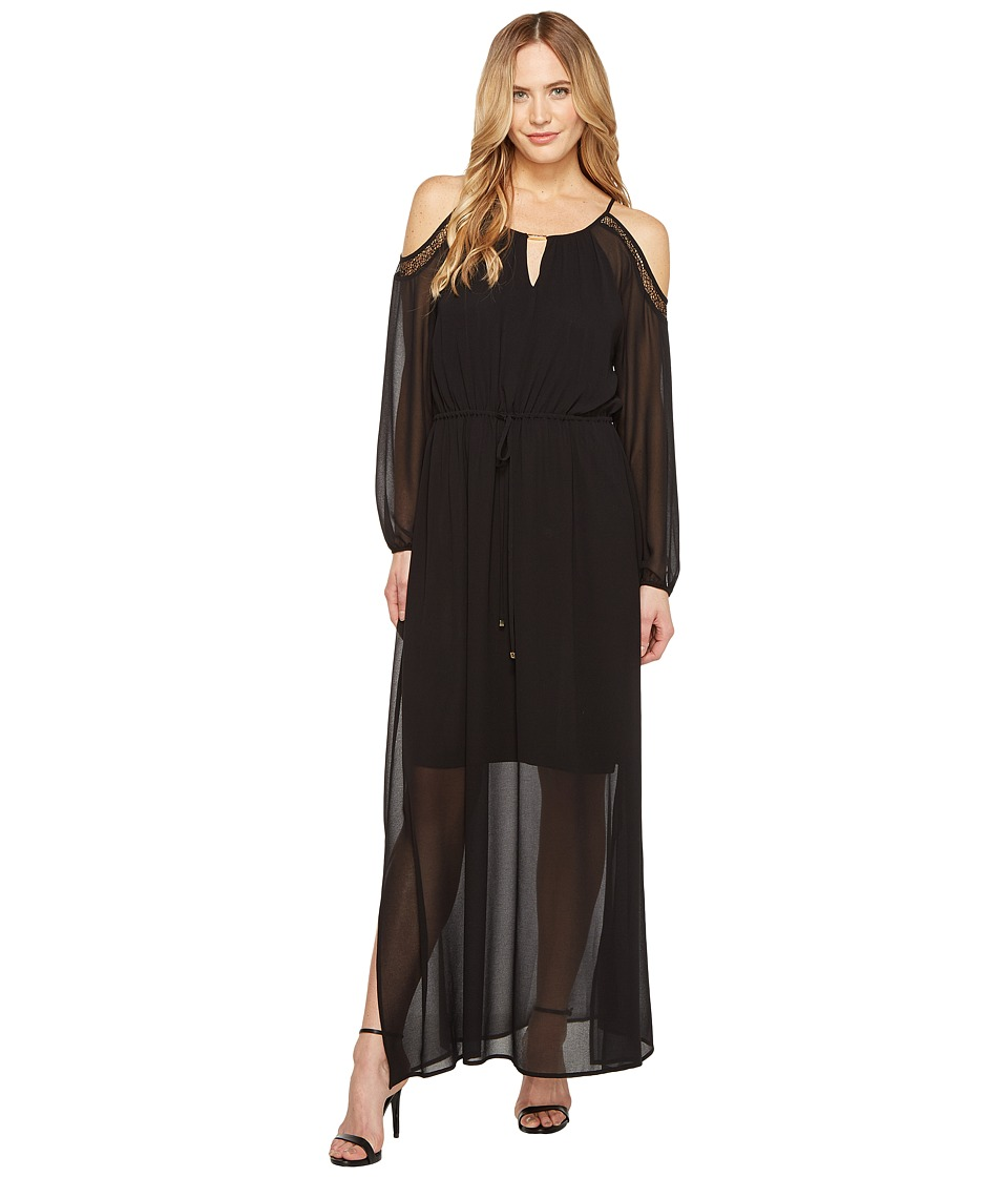 Calvin Klein - Solid Keyhole Maxi (Black) Women's Dress