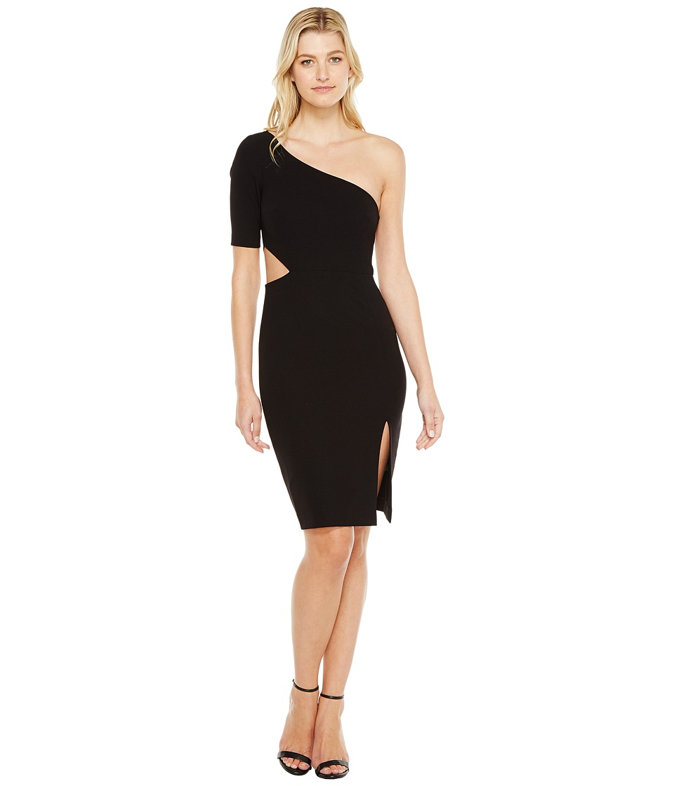 JILL JILL STUART - One Shoulder Mini with Sleeve/Side Cut Out (Black) Women's Dress