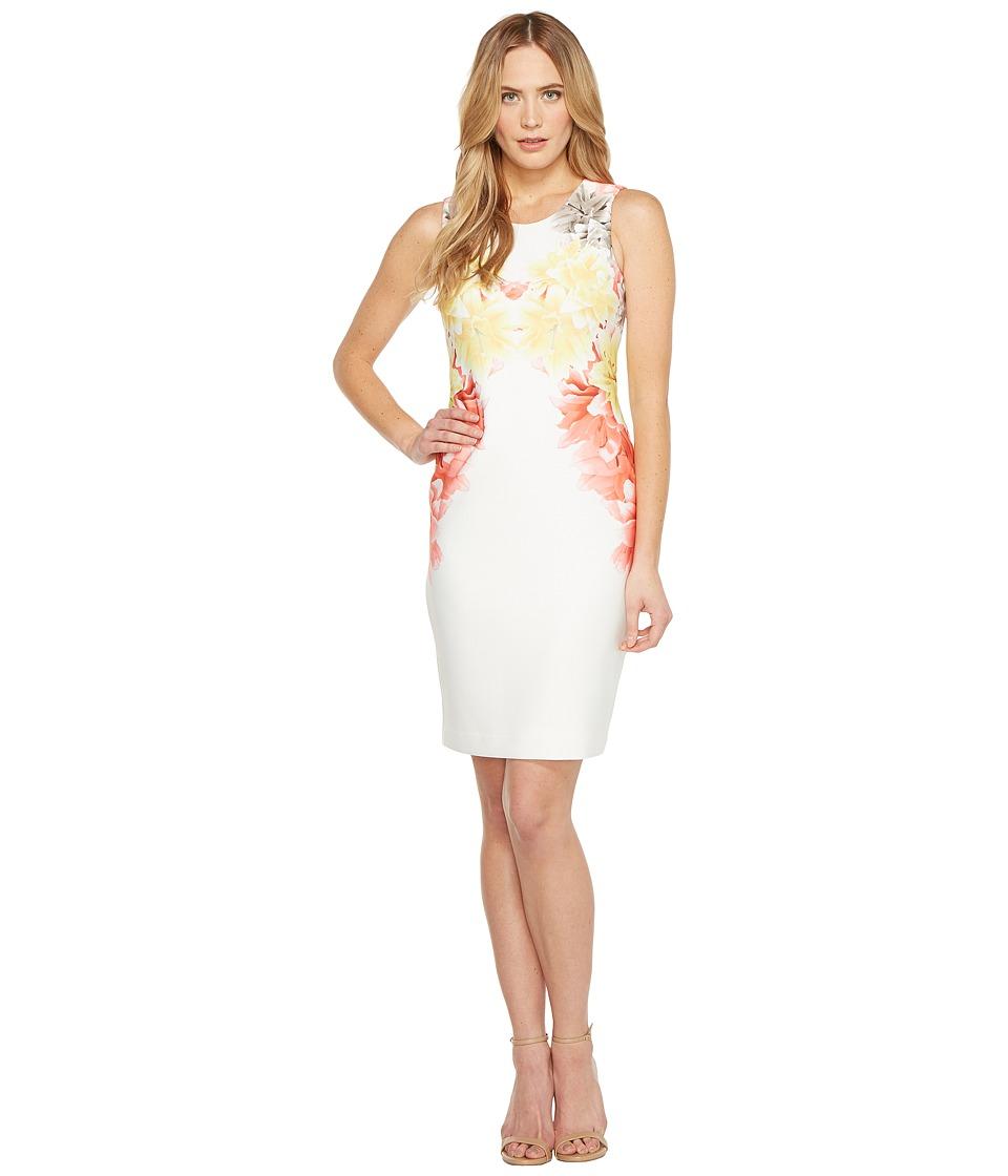 Calvin Klein - Scuba Sheath Dress (Porcelain Rose Combo) Women's Dress