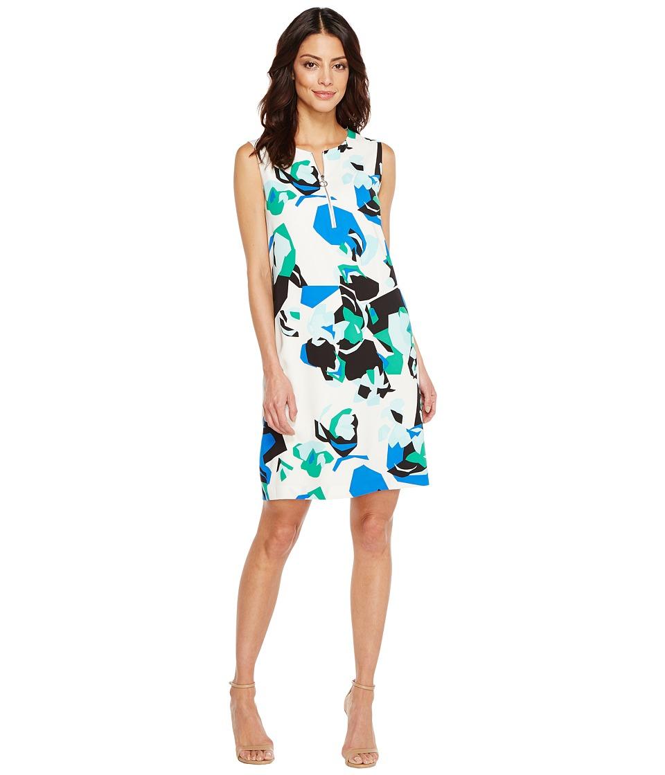 Calvin Klein Sleeveless Printed Sheath with Zipper Soft White-Mango Multi Dress