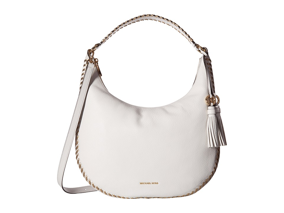MICHAEL Michael Kors - Lauryn Large Shoulder (Optic White) Handbags