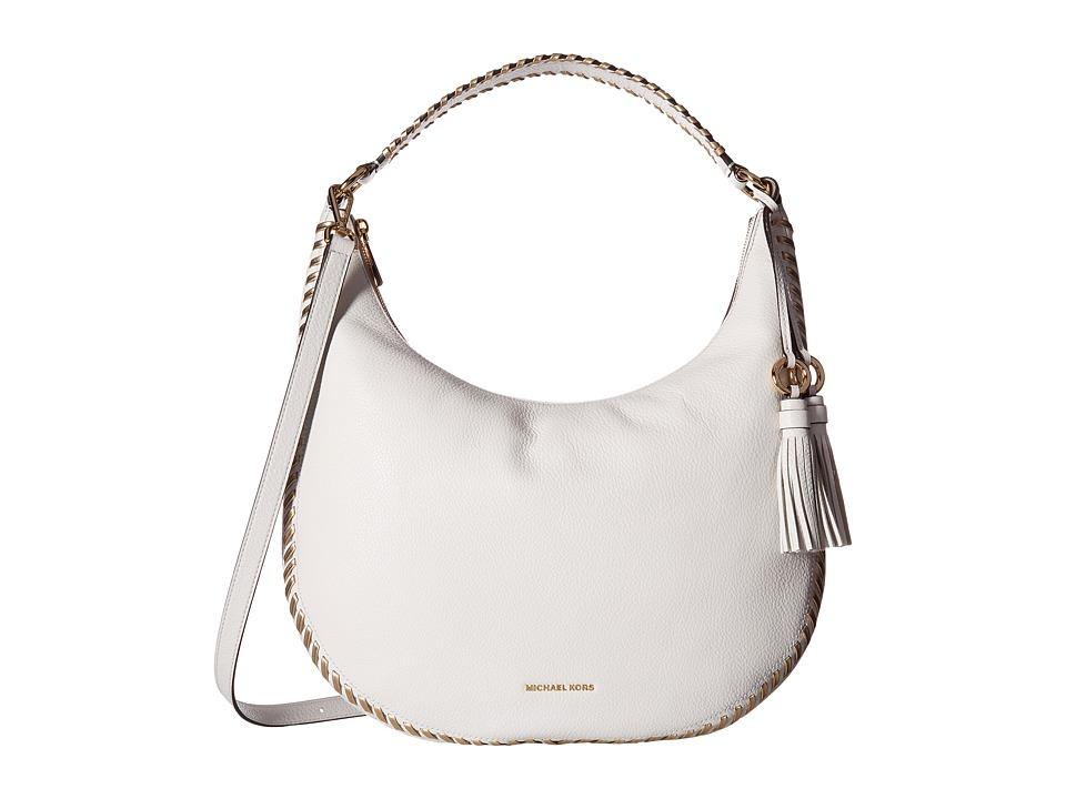 MICHAEL Michael Kors - Lauryn Large Shoulder (Optic White) Handbags
