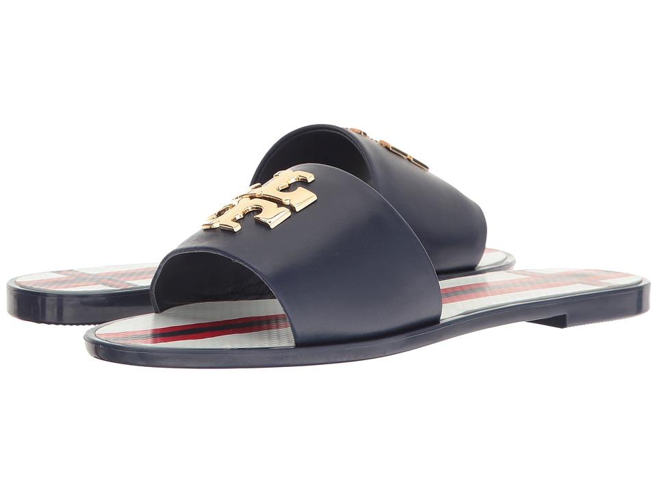 Tory Burch - Logo Jelly Slide (Navy Sea) Women's Slide Shoes