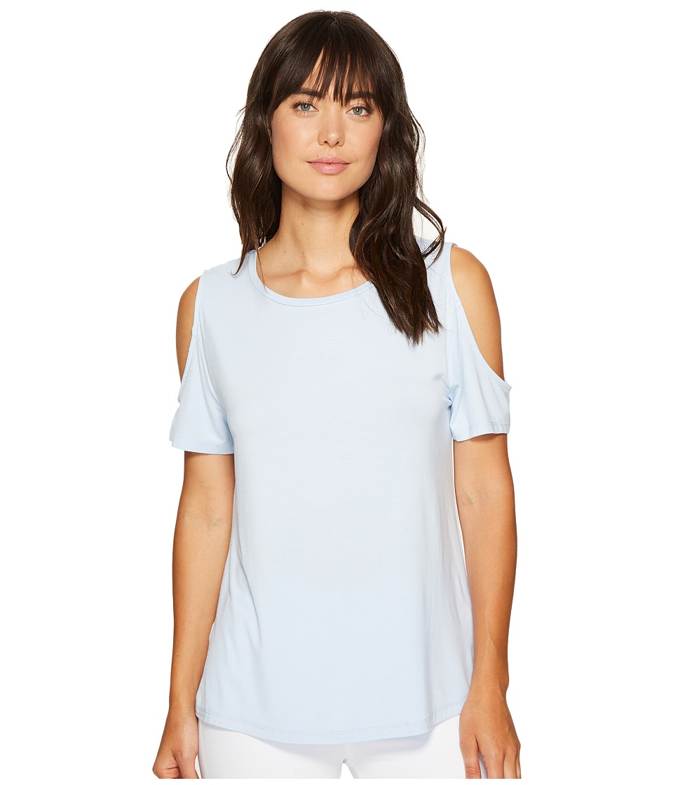 Calvin Klein - Short Sleeve Cold Shoulder Top (Chambray Blue) Women's Clothing