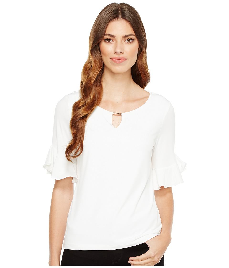 Calvin Klein - Ruffle Sleeve Top with Bar Hardware (Soft White) Women's Clothing