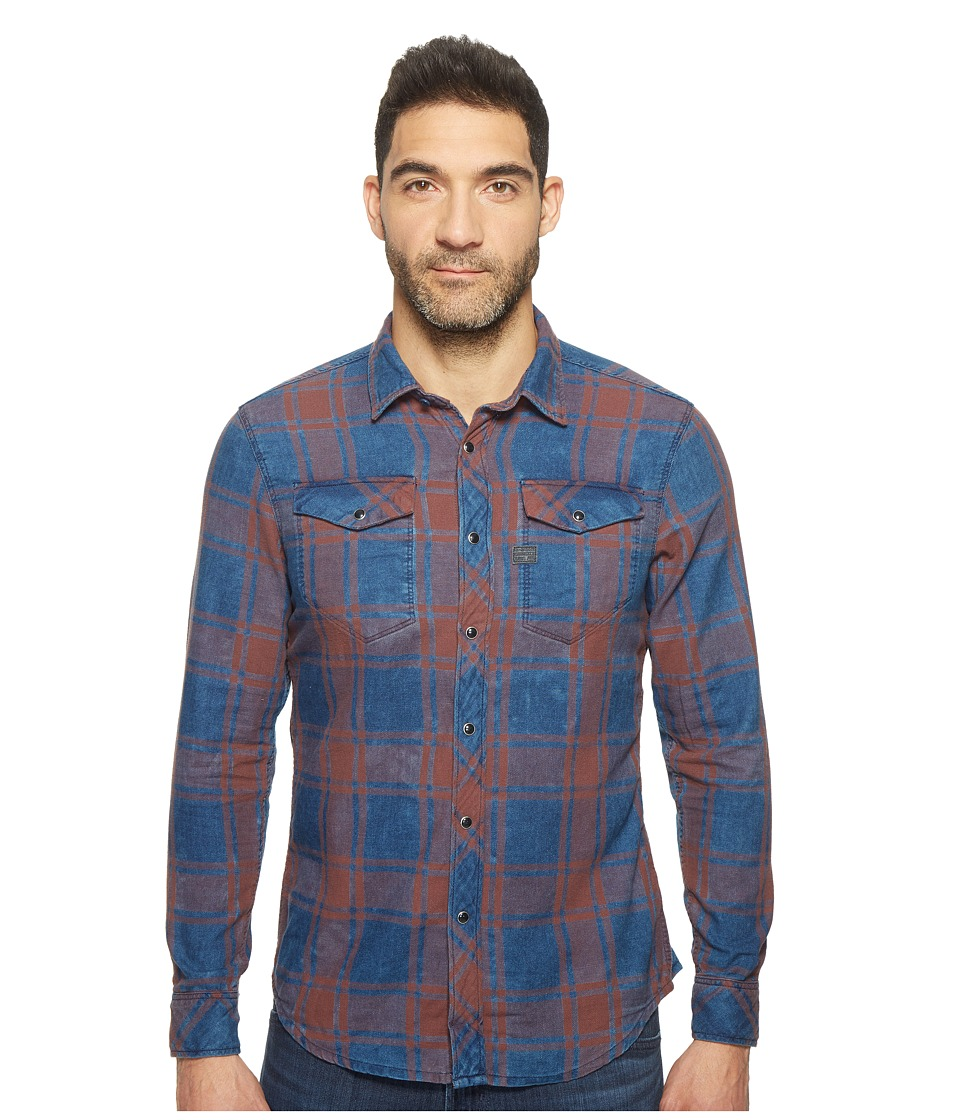 G-Star - Tacoma Deconstructed Shirt Long Sleeve (Dark Indigo/Aubergine Check) Men's Clothing