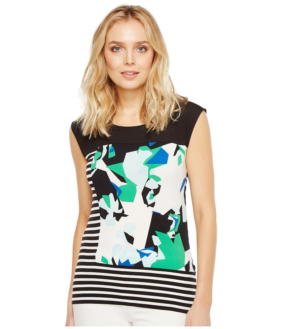 Calvin Klein - Mixed Media Print and Striped Top (Soft White/Mango Multi) Women's Clothing