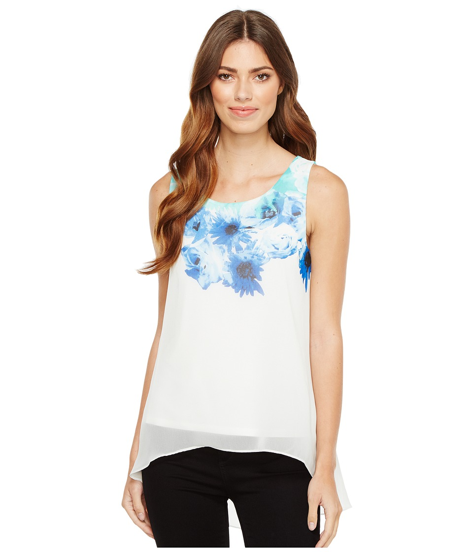 Calvin Klein Printed Slit Back Top with Chiffon Overlay (Seaglass Combo) Women