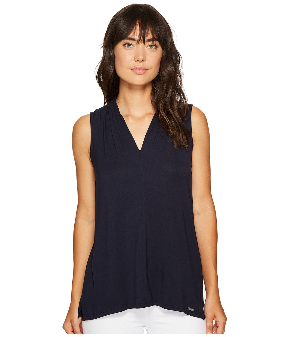 Calvin Klein - Sleeveless Solid V-Neck Top (Twilight) Women's Clothing