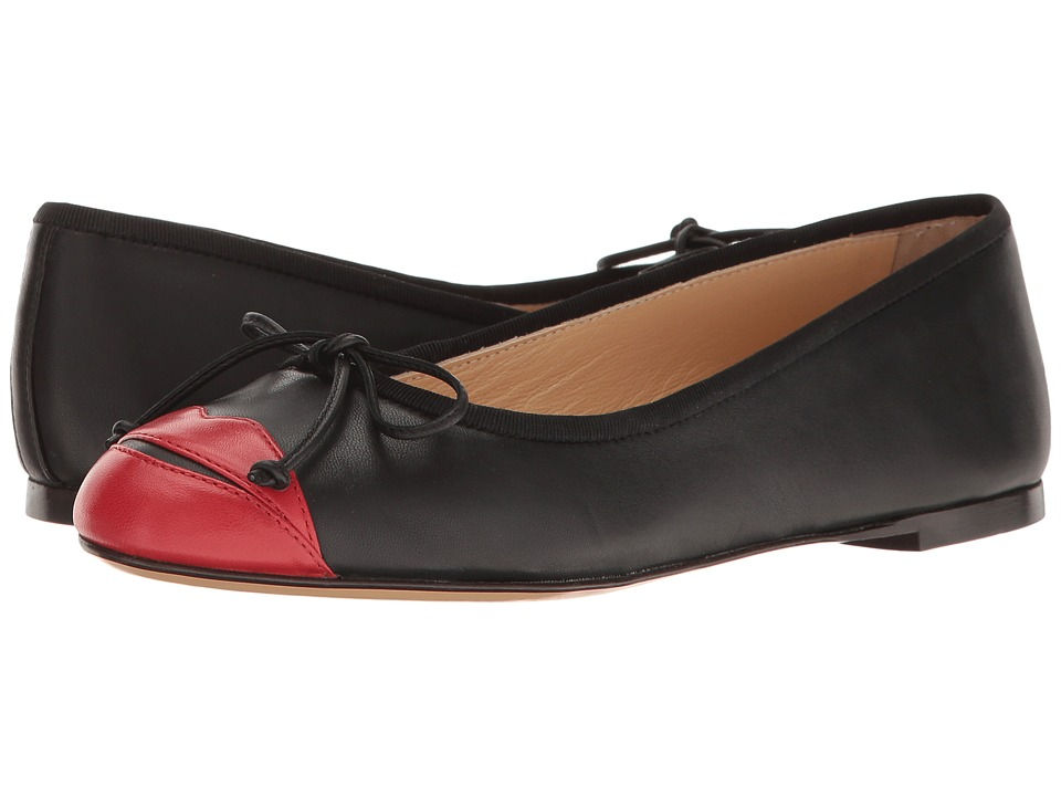Charlotte Olympia - Kiss Me Darcy (Black/Red Calfskin) Women's Slip on Shoes