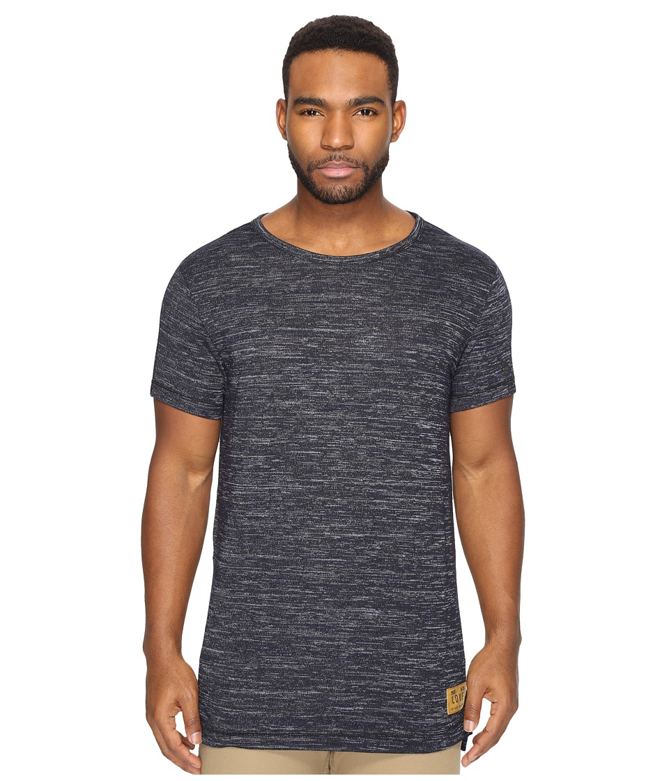 Scotch & Soda - Long Fit Crew Neck Tee in Melange Jersey Quality (Navy Melange) Men's T Shirt