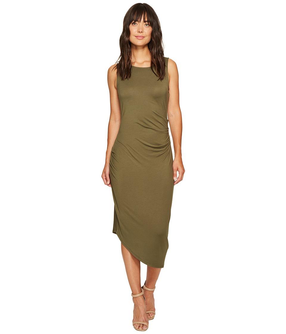 Calvin Klein Sleeveless Side Ruched Dress (Olive) Women