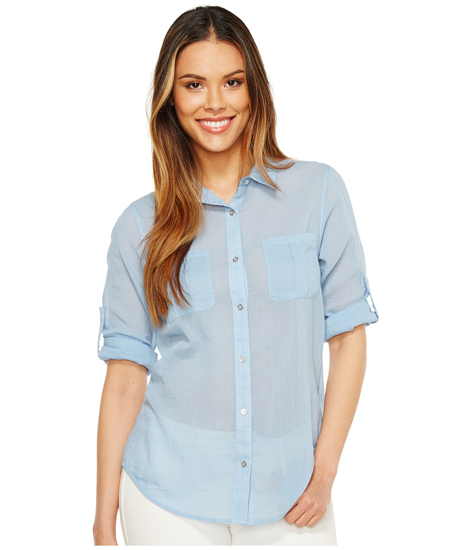 Calvin Klein - Crinkle Voile Roll Sleeve (Chambray Blue) Women's Clothing