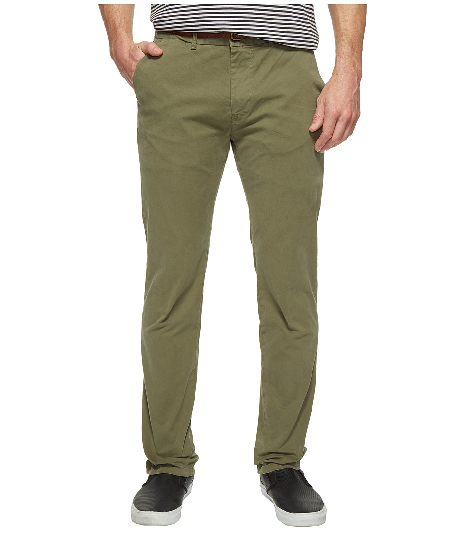 Scotch & Soda - Classic Garment Dyed Chino Pants in Stretch Cotton Quality (Army) Men's Casual Pants