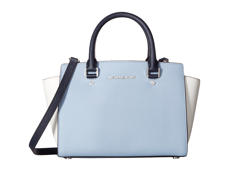 MICHAEL Michael Kors - Selma Medium Top Zip Satchel (Pale Blue/White/Admiral) Satchel Handbags