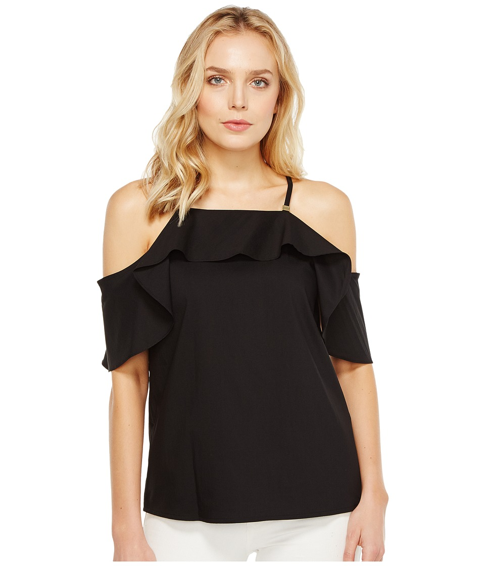 Calvin Klein Halter with Ruffle Sleeve (Black) Women
