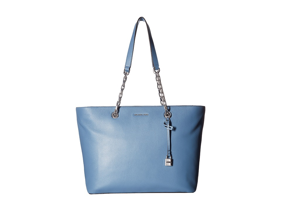 MICHAEL Michael Kors - Mercer Chain Medium Top-Zip Multifunction Tote (Denim) Tote Handbags
