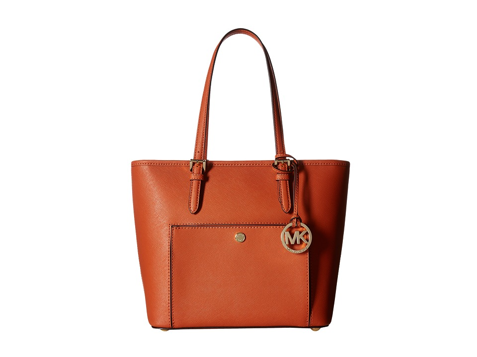 MICHAEL Michael Kors - Jet Set Item Medium Top-Zip Snap Pocket Tote (Orange) Tote Handbags