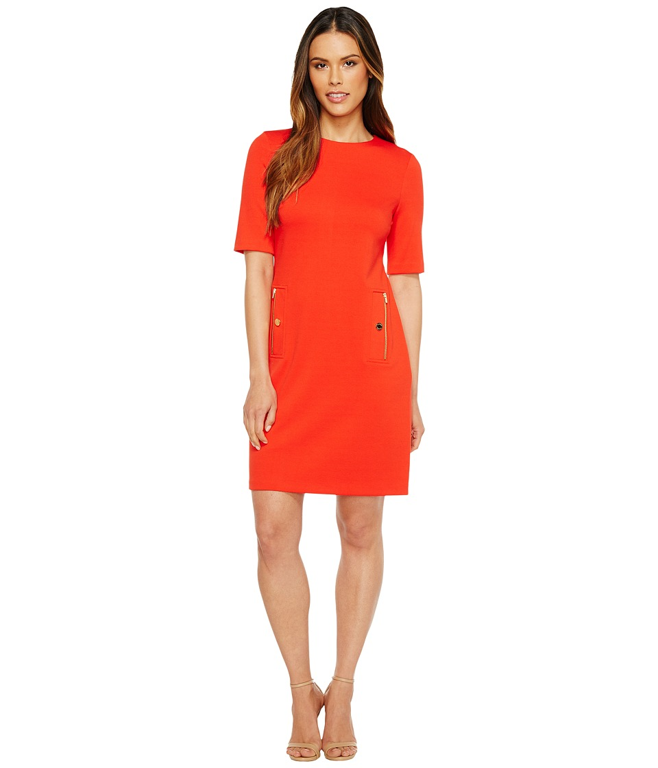Calvin Klein - 3/4 Sleeve Shift with Zip Pocket (Tango Red) Women's Dress