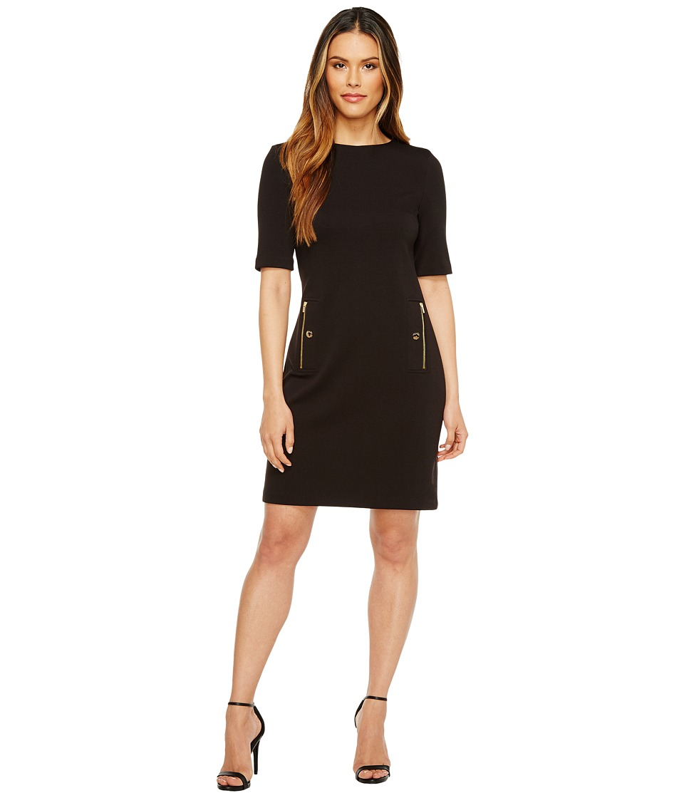 Calvin Klein - 3/4 Sleeve Shift with Zip Pocket (Black) Women's Dress