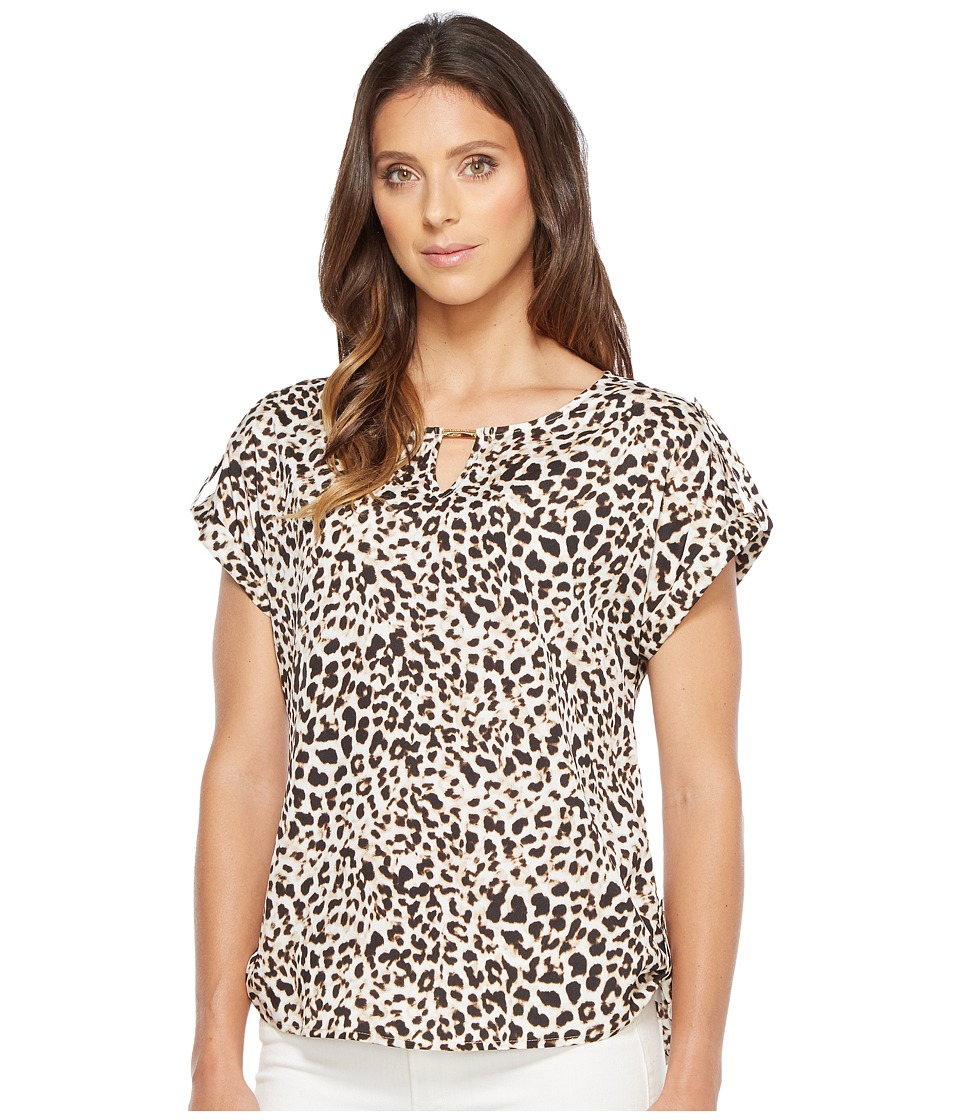 Calvin Klein - Printed Top with Bar Hardware (Leopard) Women's Clothing