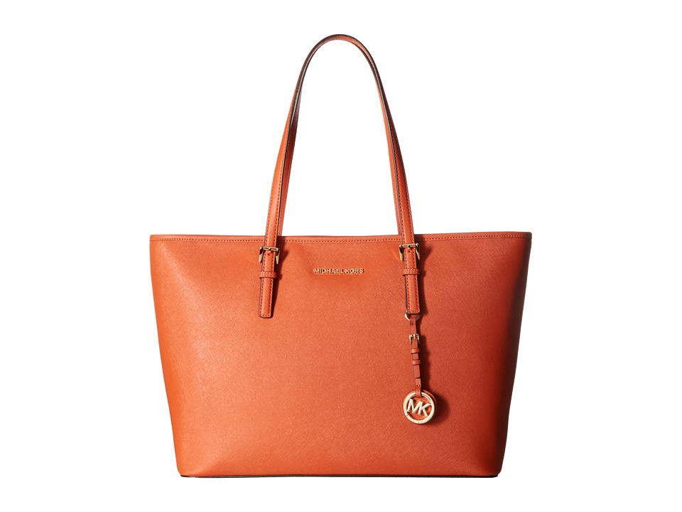 MICHAEL Michael Kors - Jet Set Travel Medium Top Zip Mult Funt Tote (Orange) Tote Handbags