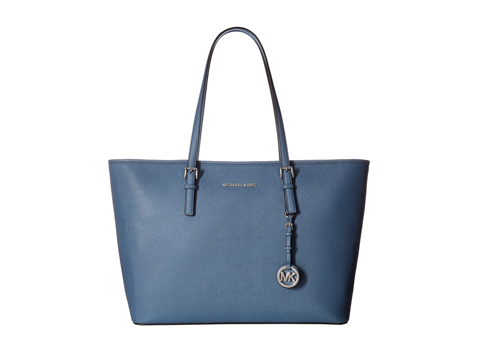 MICHAEL Michael Kors - Jet Set Travel Medium Top Zip Mult Funt Tote (Denim) Tote Handbags