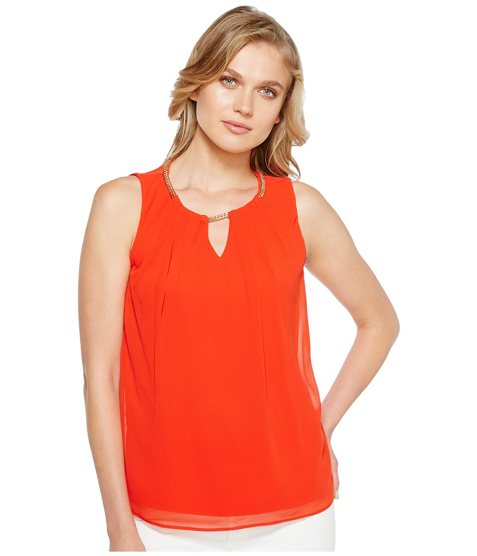 Calvin Klein - Sleeveless Pleat Top with Chain (Tango Red) Women's Clothing